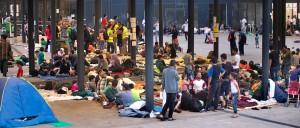 Migránsok a Keleti pályaudvaron 2015 augusztusában