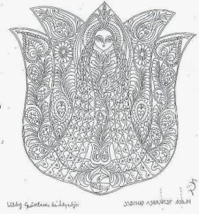 nő motívum, tulipán, liliom, nagyboldogasszonyunk