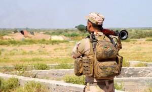 Iraki katona gránátvetővel Falludzsánál Forrás: MTI/EPA/Navrasz Amer