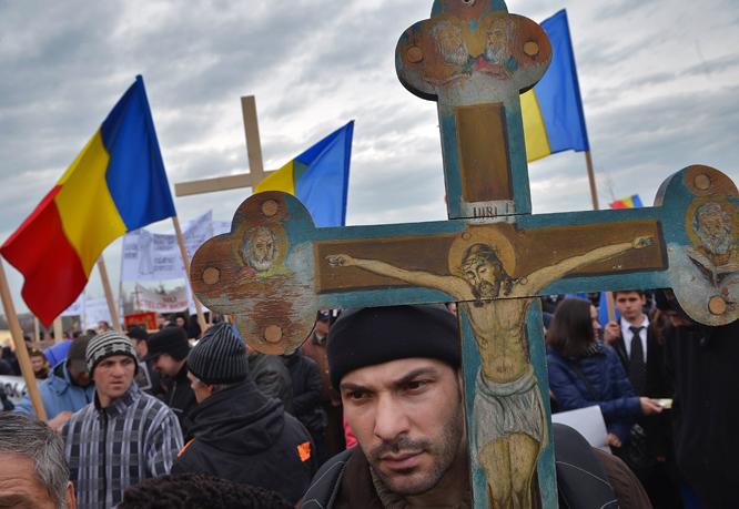 ROMANIA-RELIGION-CHIP ID-PROTEST